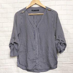 Zara Navy Blue Striped V Neck Roll Tab Blouse